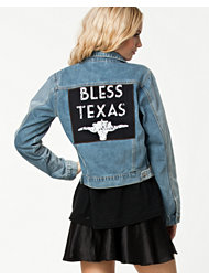 Somedays Lovin Bless Texas Two-Tone Denim Jacket