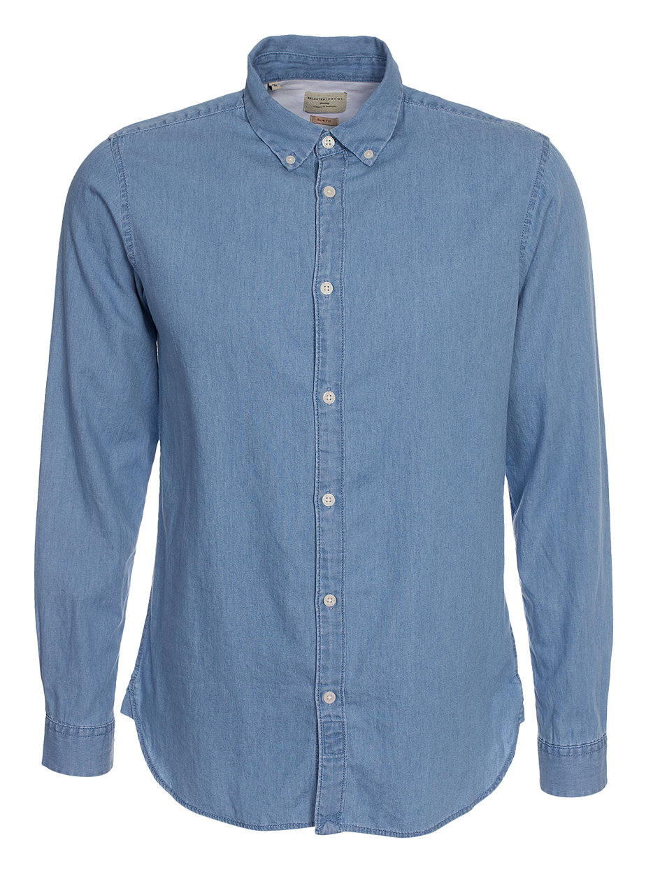 shhonenolan shirt ls selected homme light blue
