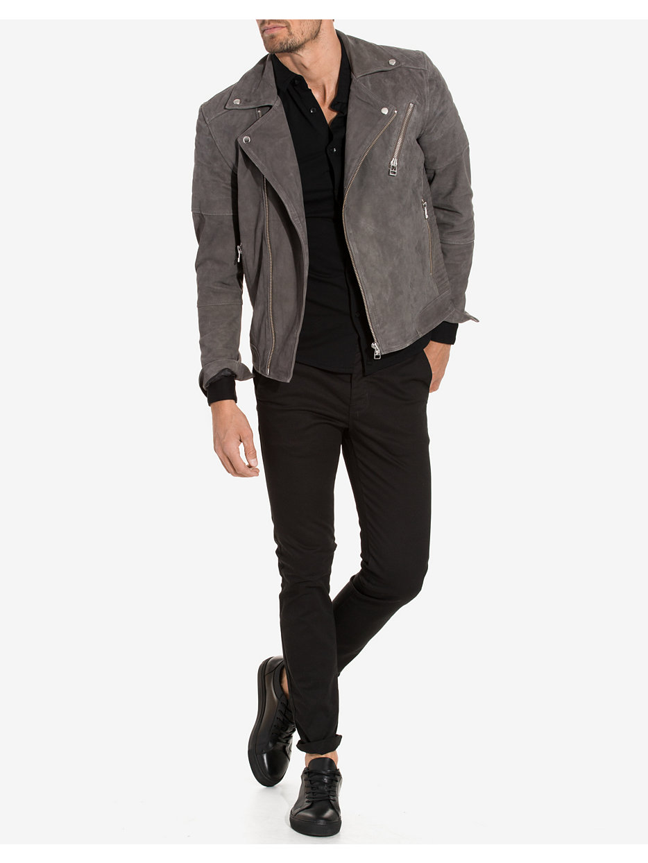 shnfeel suede biker jacket selected homme grey
