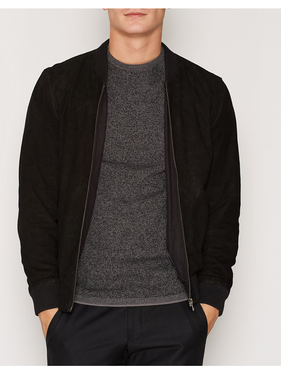 shndublin suede bomber selected homme black jackets