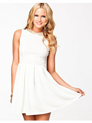Aura Boutique Lace Back Studded Collar Shift Dress