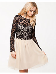 Little Mistress Floral Lace Detail Long Sleeve Dress