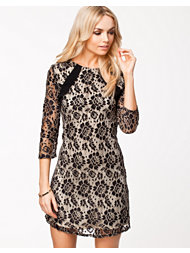 Little Mistress Floral Lace Overlay Long Sleeve Tunic Dress
