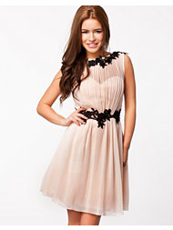Little Mistress Lace Detal Chiffon Dress