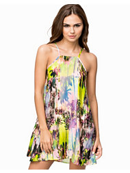 Oh My Love Tropical Palm Print Swing Dress