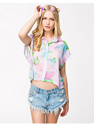 Textile Federation Flowers Of Paradise Crop Shirt