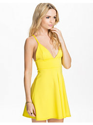 Oh My Love Plunging V Bralet Skater Box Pleat Dress
