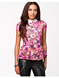 Lili London Floral Peplum Collar Top