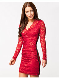 Lili London Wrap Front Lace Side Zip Dress