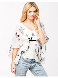 Lili London Butterfly Plate Front 2 in 1 Drape Top
