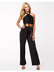 Lili London Halter Neck Metallic Belt Jumpsuit