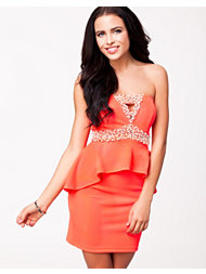 Oneness Beads Coral Peplum Dress