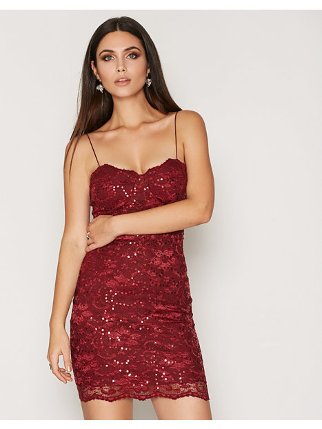 Lace Bra Cup Dress - Nly One - Burgundy