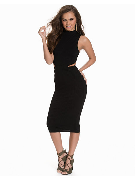 Rib Midi Cut Out Dress