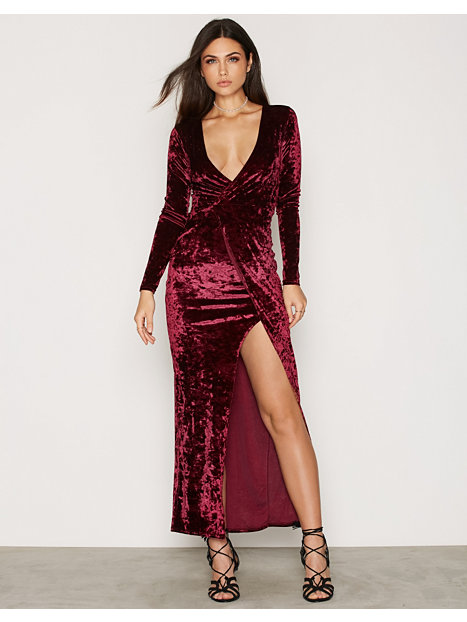 Wrap Slit Velvet Dress