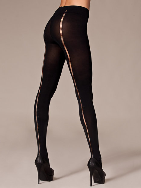 Back Stitch Pantyhose - Sneaky Fox - Black - Tights & Stay
