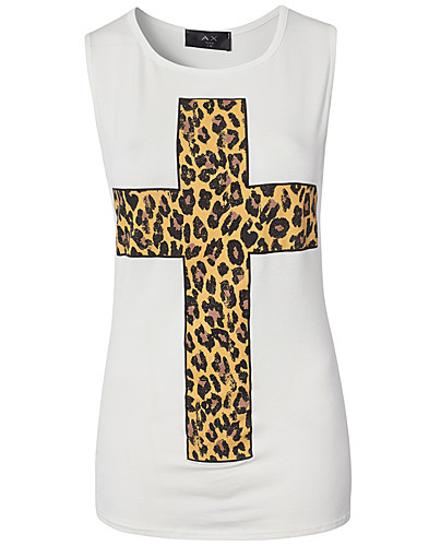 TOPS - AX PARIS / ANIMAL PRINT CROSS TEE - NELLY.COM