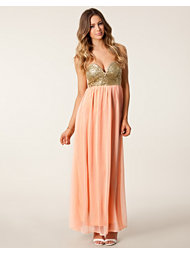 Reverse Glitter Bandeau Maxi Dress
