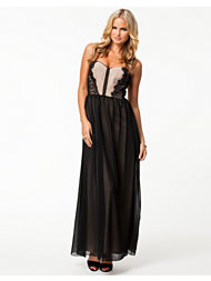 Elise Ryan Lace Trim Maxi Dress