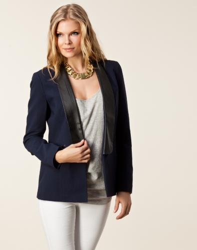 jane pu panel blazer