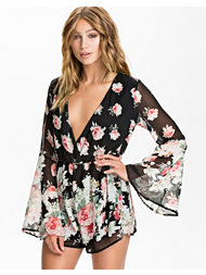 Reverse Bell Sleeve Floral Playsuit