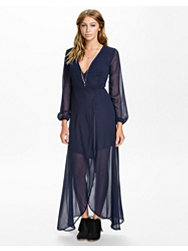 Reverse Sheer Wrap Maxi Dress