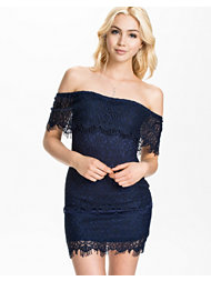 Kiss The Sky Eyelash Lace Off Shoulder Dress