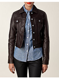 Jean Shop Leather Denim Jacket