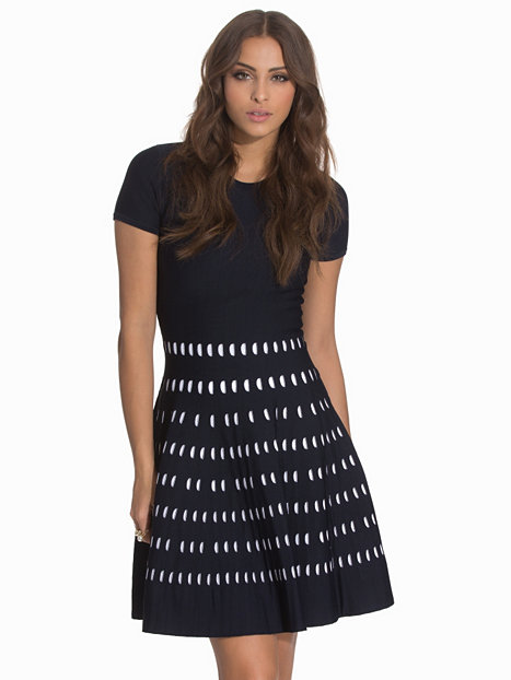 pointelle ss crew dress michael michael kors navy. Black Bedroom Furniture Sets. Home Design Ideas