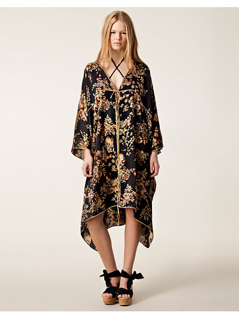 Awesome Ganni Kimono Dress In Golden Leaves Print In Black  Lyst