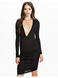 Club L Essentials Shoulder Padded Ruched Deep V Dress