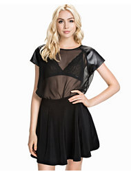 Club L Essentials PU Patch Sheer Chiffon Tee
