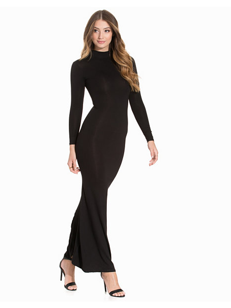 L/S Hi Neck Fishtail Jersey Maxi Dress