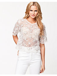 River Island Emb Cut Out Lace Top