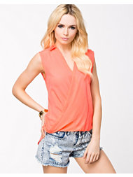 River Island Sleeveless Coral Wrap Top