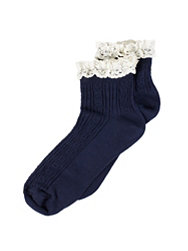 River Island Cable Design Frill Ankle Sock
