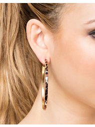 River Island Leopard Print Hoops Earrings