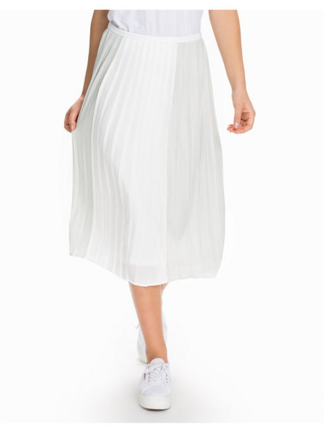 Silver And White Pleat Midi Skirt
