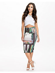 River Island Orchid Print Pencil Skirt