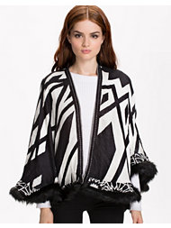 River Island Geo Batik Fur Trim Cape