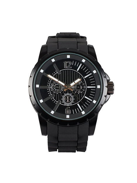 rubber river island black silver watches