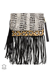 River Island Animal Fringe Leather Clutch