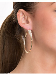 River Island Pave Section Oval Delciate Hoops
