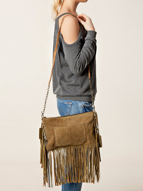 Schoudertas River Island : Fringe cross body river island beige tassen