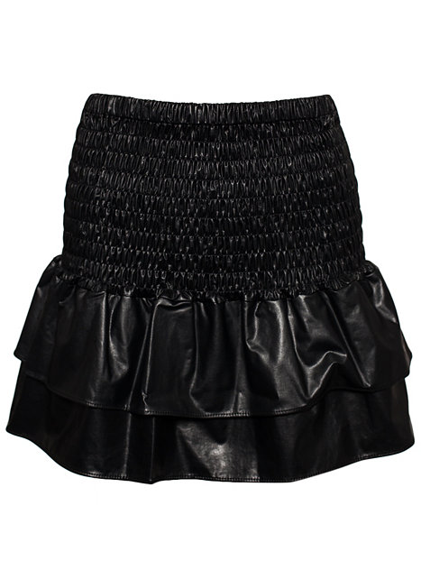Faux Leather Frill Skirt