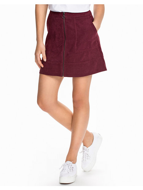 zip front suedette skirt new look burgundy skirts