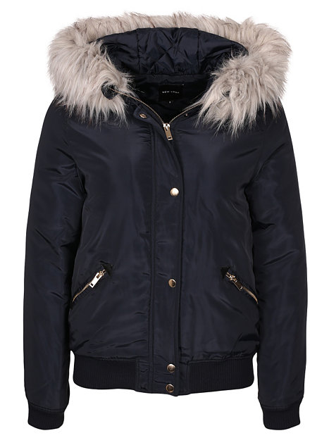 Hooded Faux Fur Padded Bomber New Look Navy Jackets