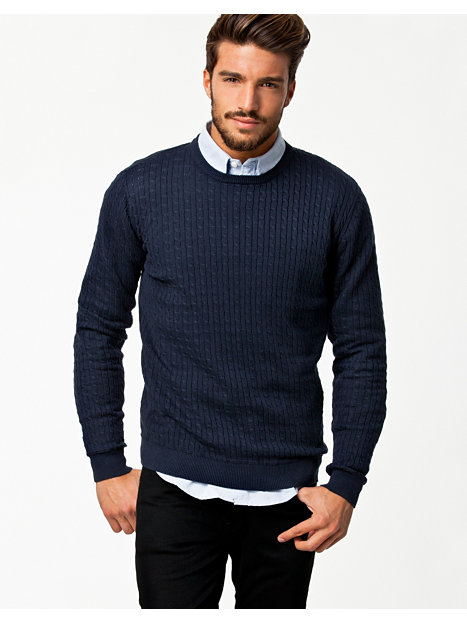 Ascot Knit - Tailored By Solid - Navy - Jumpers & Cardigans - Clothing