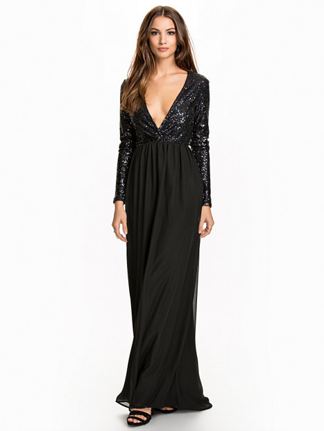 Wrap Sequin Gown Nly Eve Black Party Dresses