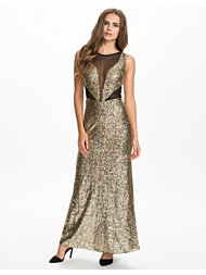 Te Amo Sequin Mesh Instert Maxi Dress